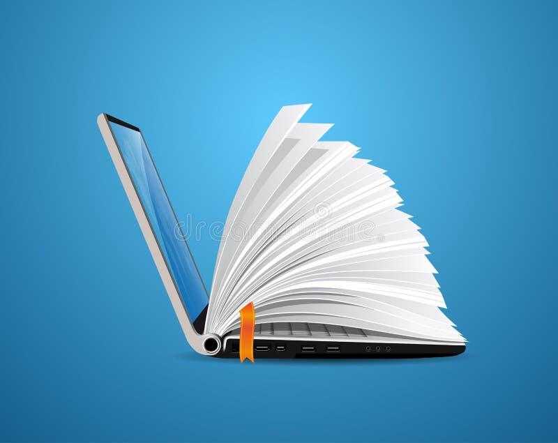 Связь ИТ - база знаний, обучение по Интернетуу, eBook иллюстрация вектора