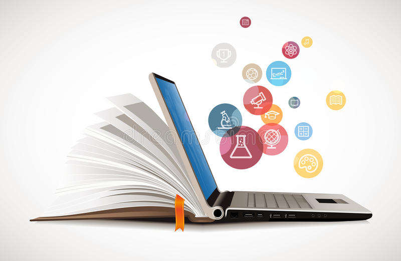 Связь ИТ - обучение по Интернетуу иллюстрация штока