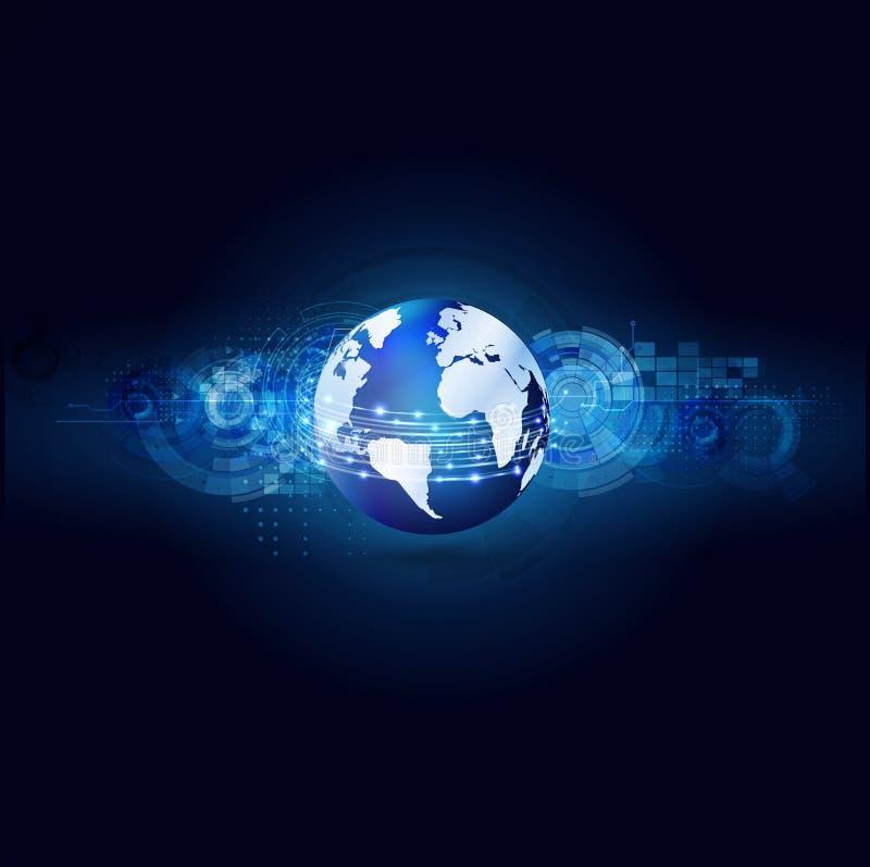 Связь мира и предпосылка технологии футуристические, vecto & иллюстратор иллюстрация вектора