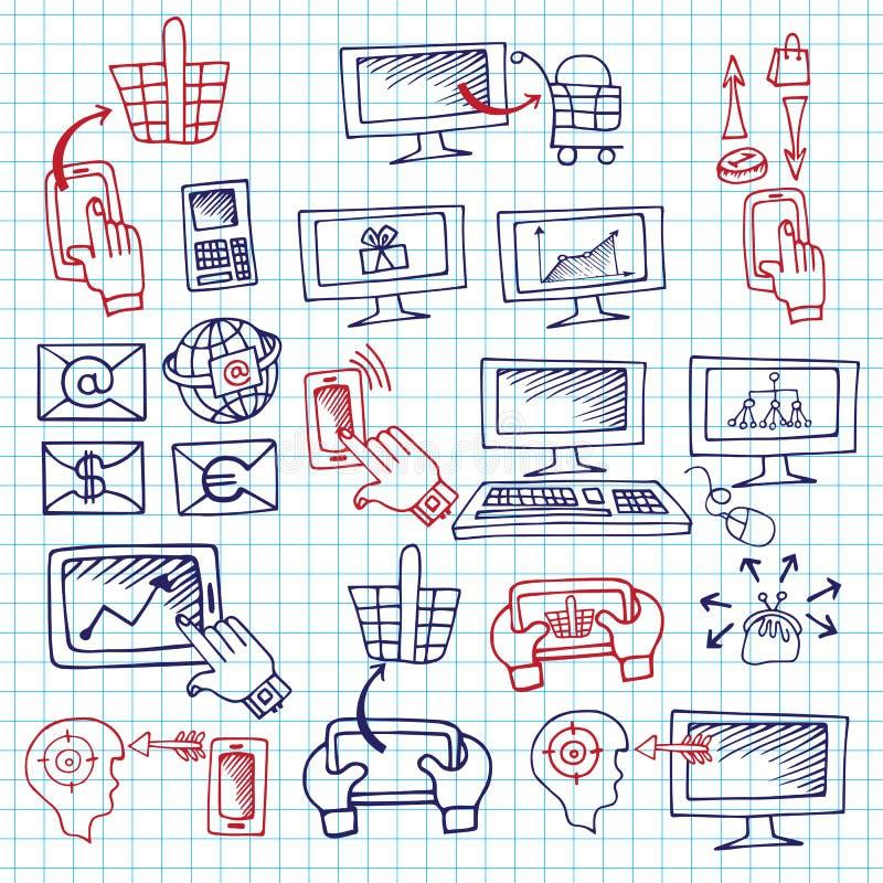 Связь seo схемы Doodle с значками иллюстрация вектора