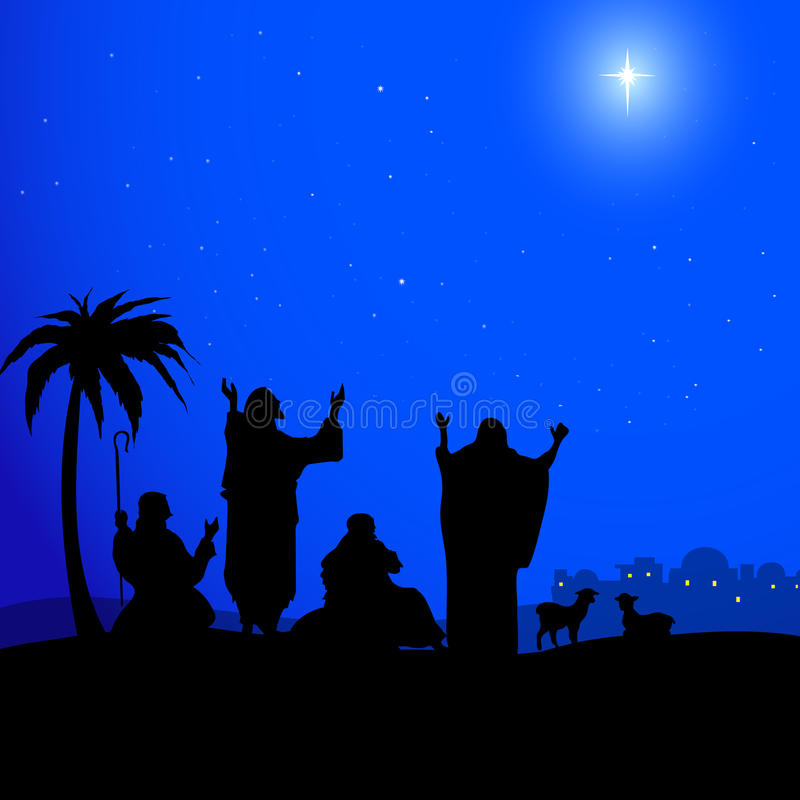 Святая звезда в Вифлеем-векторе иллюстрация штока