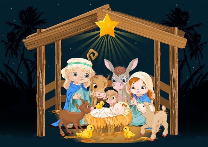 Святая семья на ноче рождества иллюстрация вектора