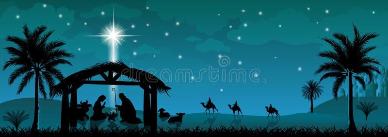 Святая семья, сцена рождества Сцена рождества Иисуса Христа иллюстрация вектора
