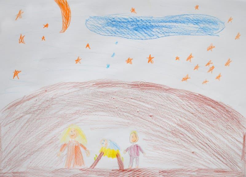 Святая семья Mary, Иосиф и Иисус Сцена рождества рождества религиозная Чертеж ` s детей бесплатная иллюстрация