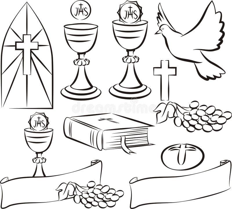 Святое причастие - символы вектора иллюстрация штока