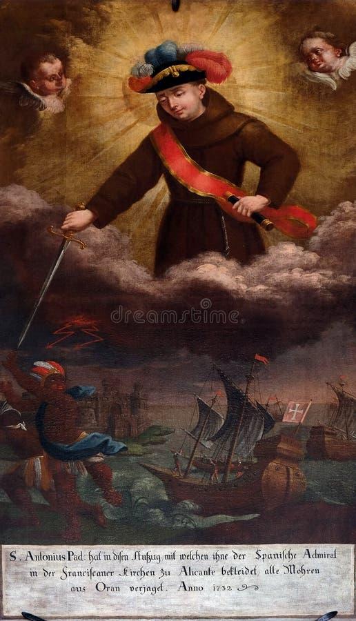 Святой Антоний Падуи в форме адмирала в сражении Орана стоковые изображения rf