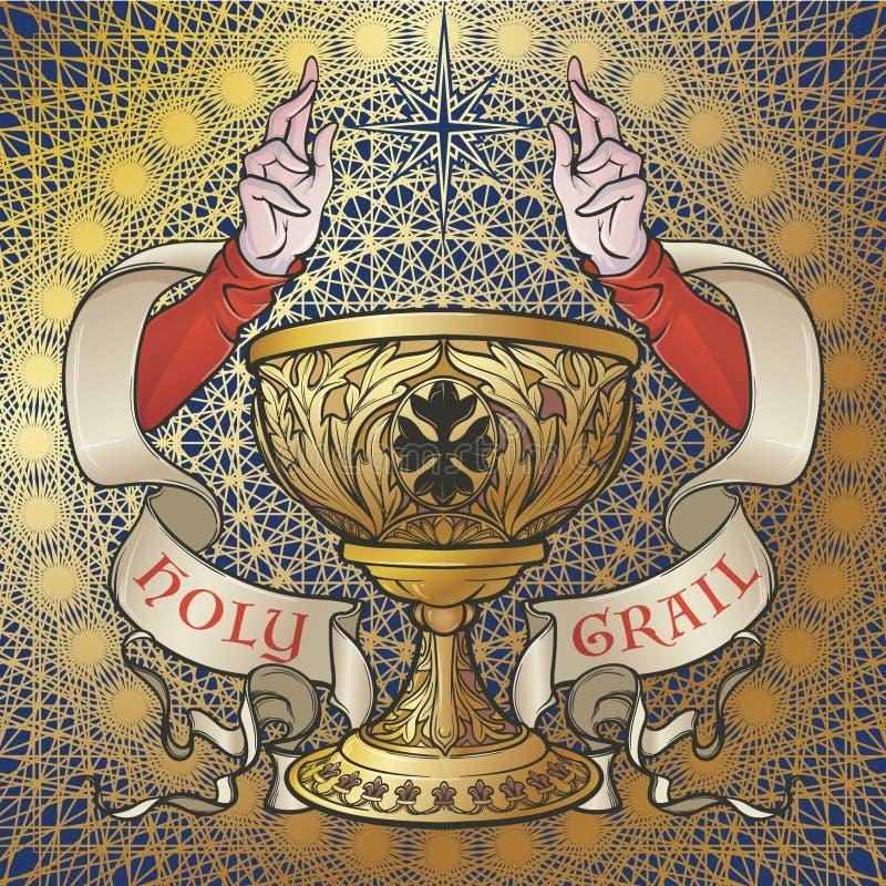 Святой Грааль Средневековое готическое искусство концепции стиля иллюстрация штока