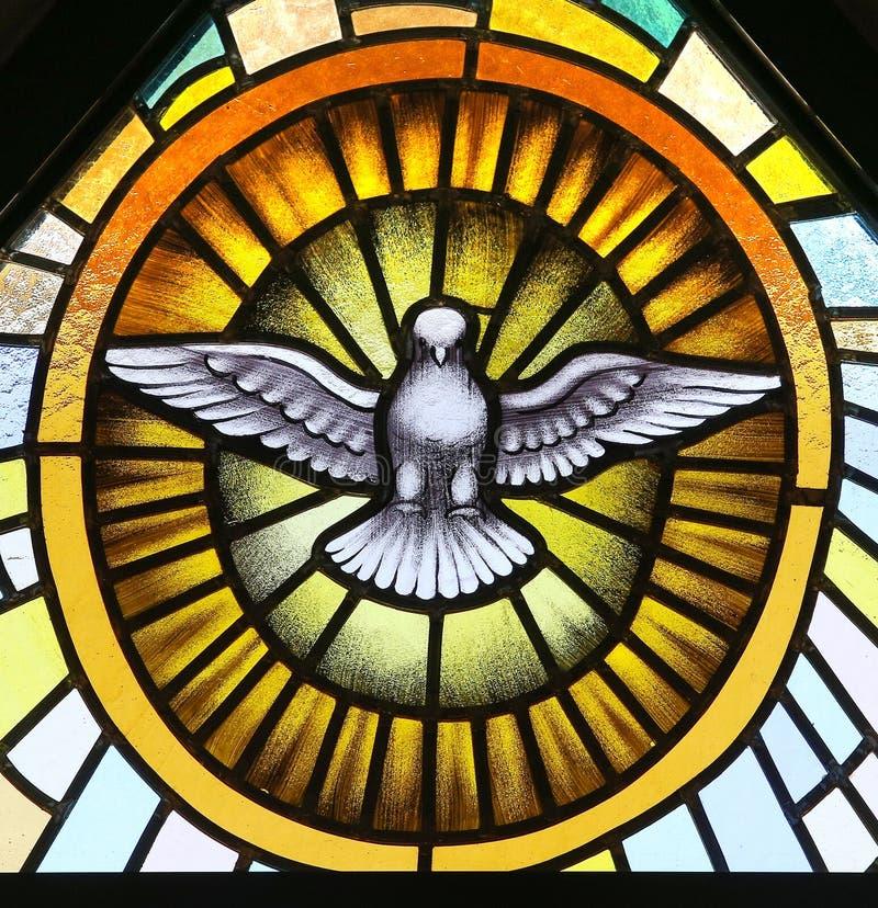 Святой дух в цветном стекле стоковая фотография rf