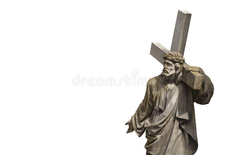 Святой крест с распятой статуей антиквариата Иисуса Христоса стоковые изображения rf