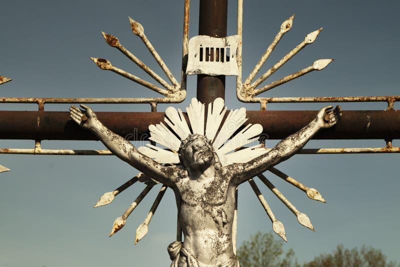 Святой крест с распятыми деталями Иисуса Христоса стоковое фото