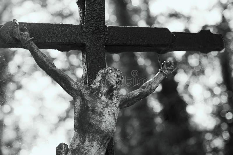 Святой крест с распятым вероисповеданием Иисуса Христоса, верой, святым, s стоковое фото rf