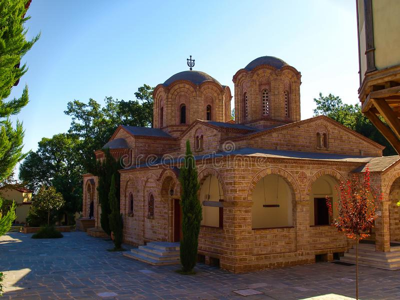 Святой патриархальный монастырь Святого Dionysios Olympus в префектуре Pieria в Греции стоковое фото rf