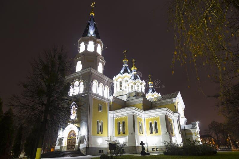 Святой собор Transfiguration на ноче Zhitomir Zhytomyr стоковое изображение rf