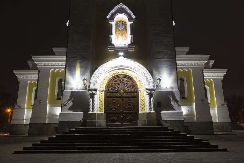 Святой собор Transfiguration на ноче Zhitomir Zhytomyr стоковое фото