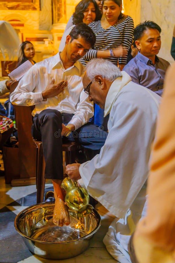 Святой четверг в монастыре Стеллы Maris Carmelite, Хайфа стоковые фото