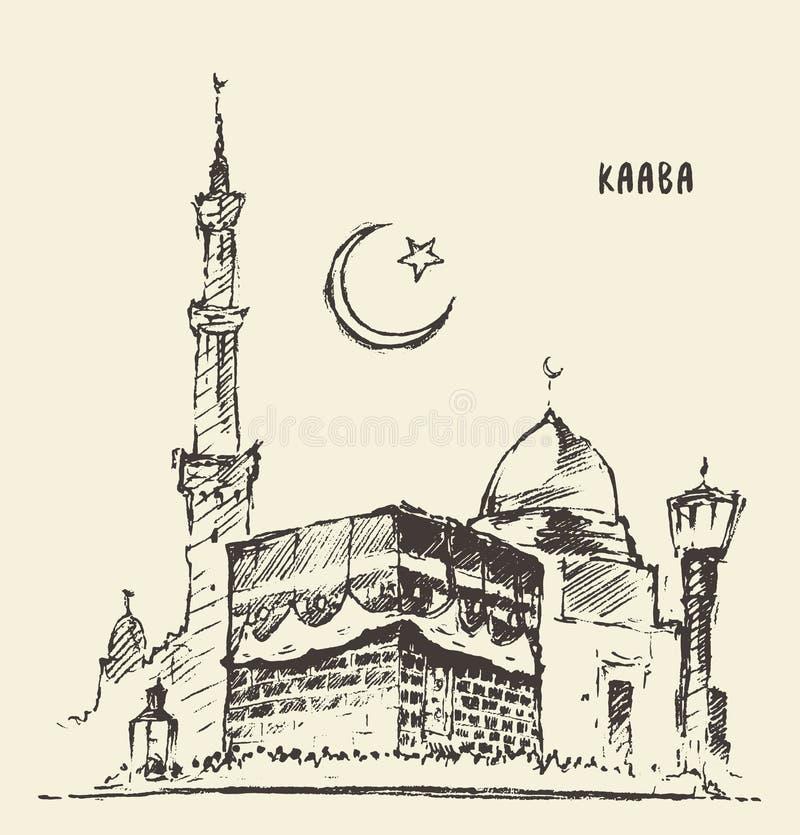 Святой эскиз мекки Kaaba мусульманской нарисованный иллюстрацией бесплатная иллюстрация