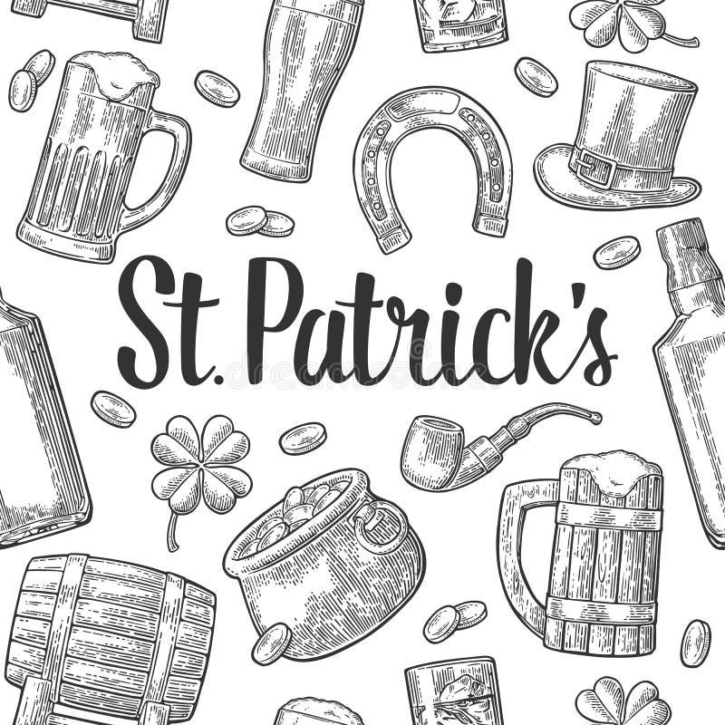 святой patrick дня шляпа, бак чеканит, пускает по трубам, пиво, лира, подкова иллюстрация штока