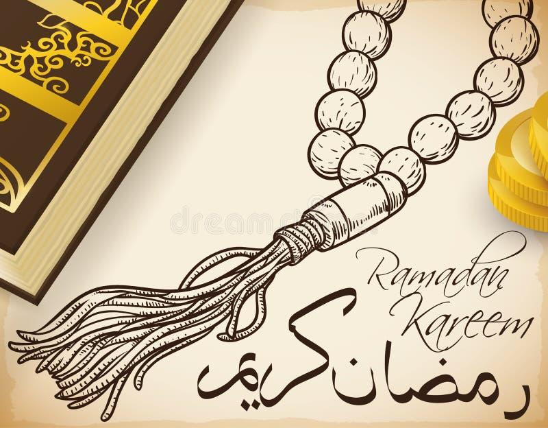 Святые книга Корана, монетки призрения и Masbaha на месяц Рамазана, иллюстрация вектора бесплатная иллюстрация