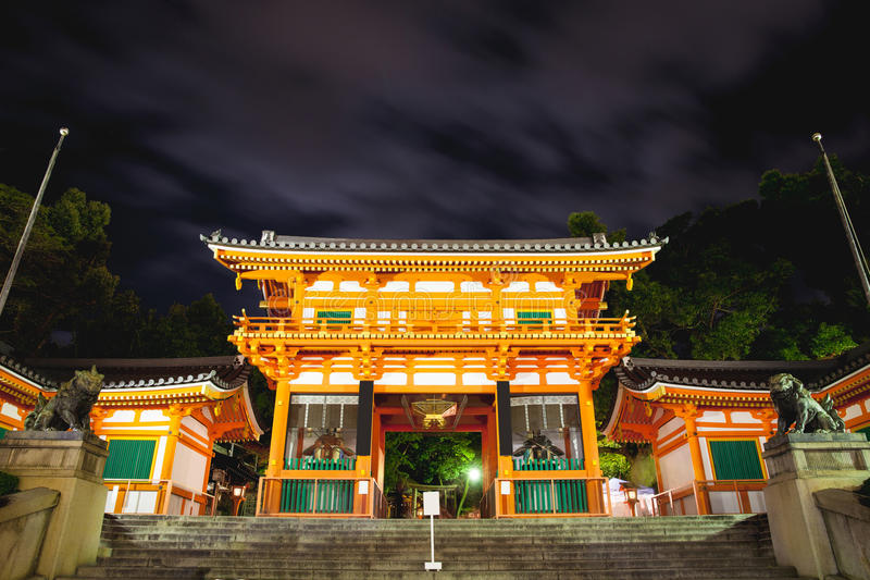 Святыня Yasaka, один из фестивалей Японии самых больших стоковая фотография rf