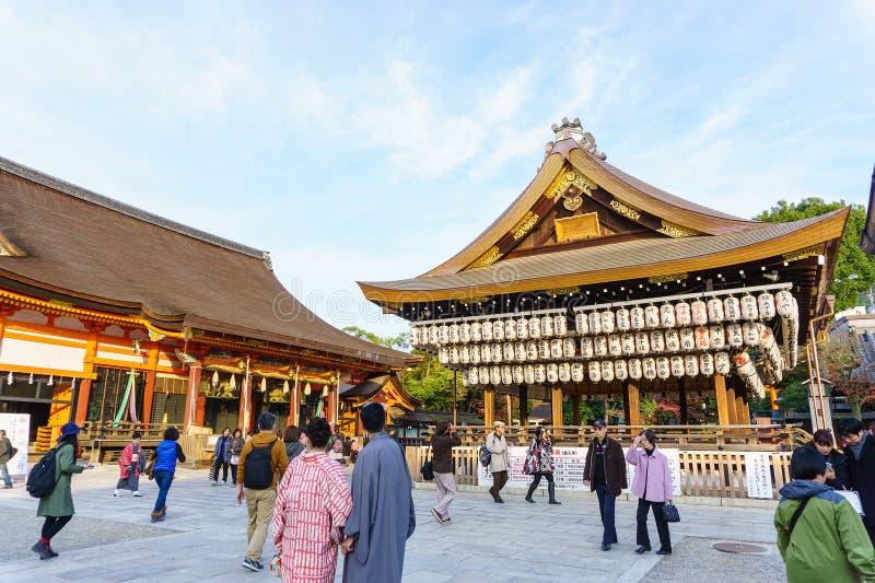 Святыня Yasaka Jinja в Киото, Японии стоковое изображение rf