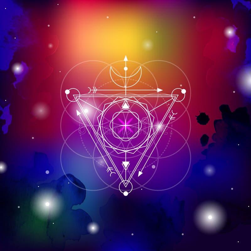 Священная иллюстрация вектора геометрии установила с предпосылкой специи акварели Хороший для логотипа, дизайна циновки йоги и од бесплатная иллюстрация