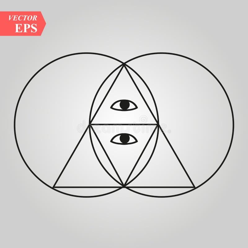 Священная пирамида геометрии с глазом, - piscis vesca - остроконечная овальная диаграмма используемая как архитектурноакустическа иллюстрация штока