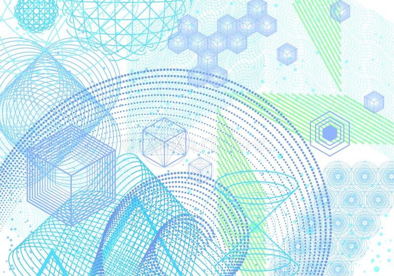 Священная предпосылка символов и элементов геометрии иллюстрация вектора