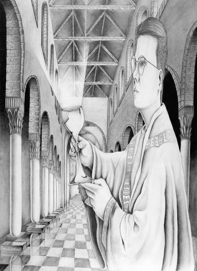 священник церков chalice иллюстрация штока