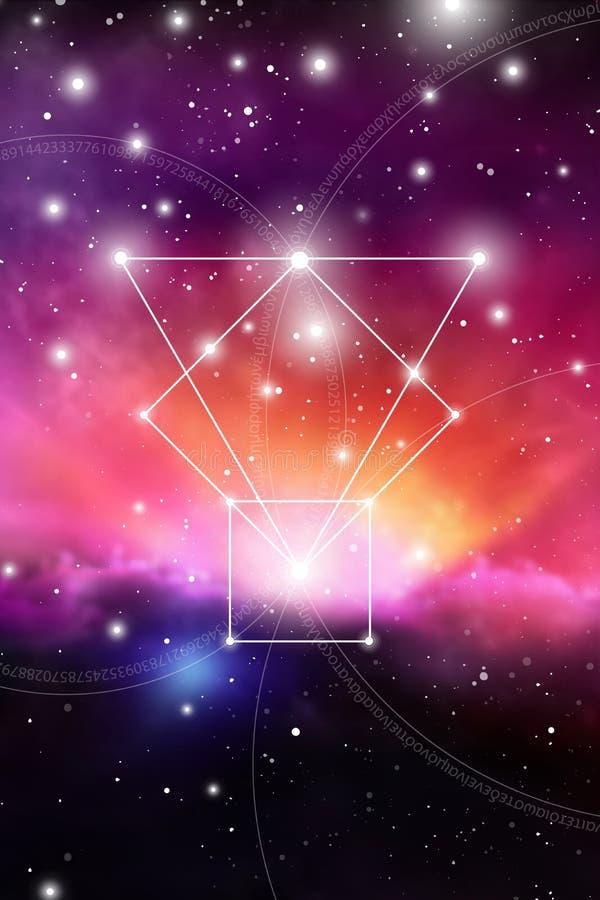 Священное искусство геометрии с золотыми номерами коэффициента, блокируя кругами, треугольниками и квадратами, подачами энергии и бесплатная иллюстрация