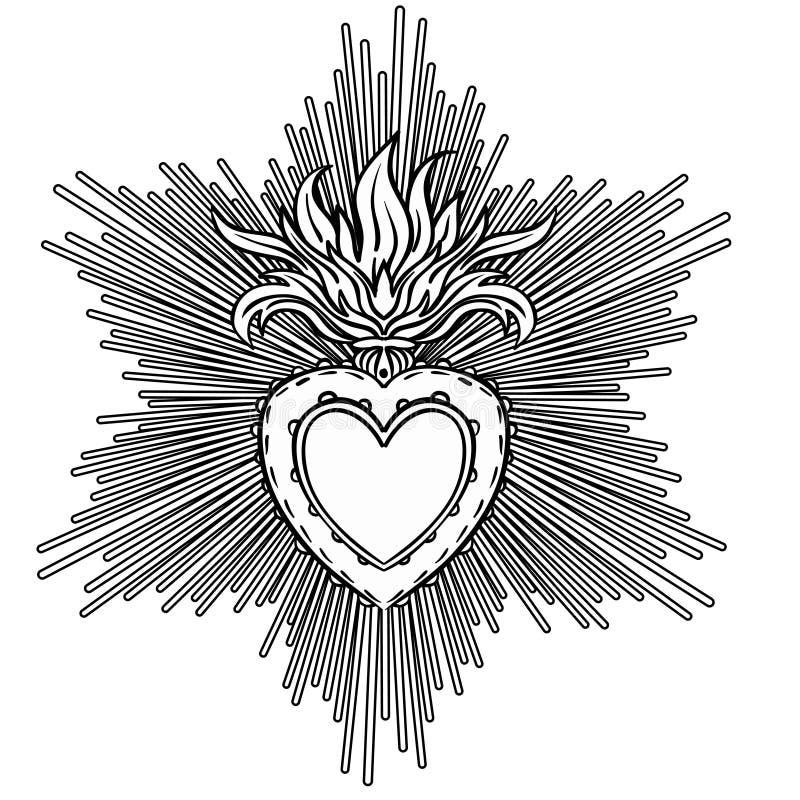 Священное сердце Иисуса с лучами Isola черноты иллюстрации вектора бесплатная иллюстрация