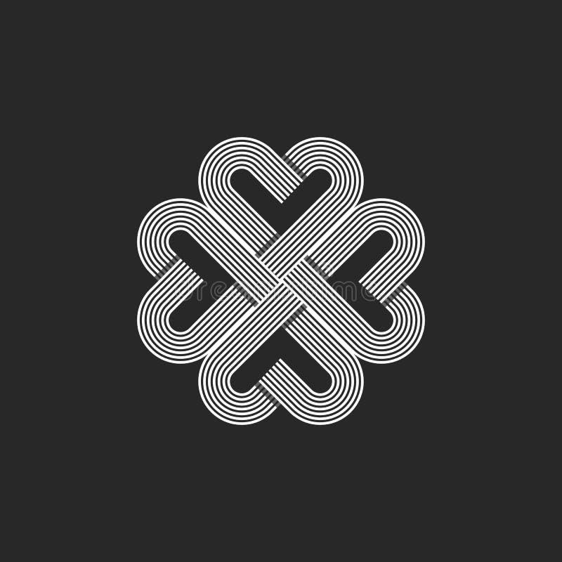 Священный геометрический логотип картины сердца, предпосылка футболки дня Валентайн вензеля хипстера, кельтская эмблема карты сва иллюстрация вектора