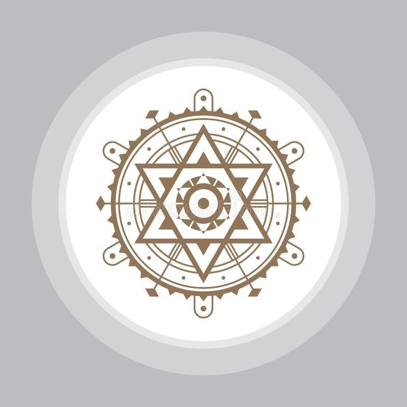 Священный знак геометрии Абстрактная картина вектора Мистический значок вектора иллюстрация вектора