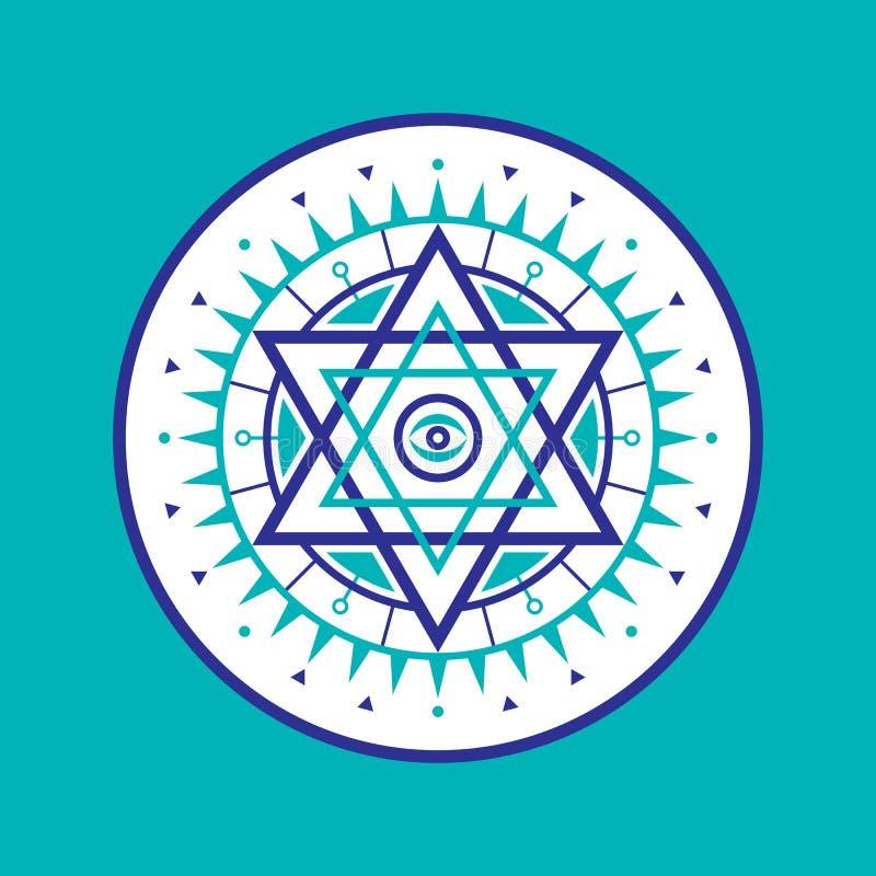 Священный знак геометрии Абстрактная картина вектора Мистический значок вектора Логотип шестиугольника иллюстрация вектора