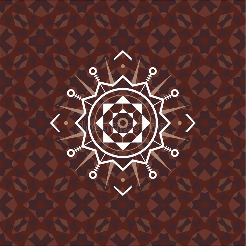 Священный знак геометрии на геометрической абстрактной предпосылке Абстрактная картина вектора Мистический значок вектор изображе бесплатная иллюстрация