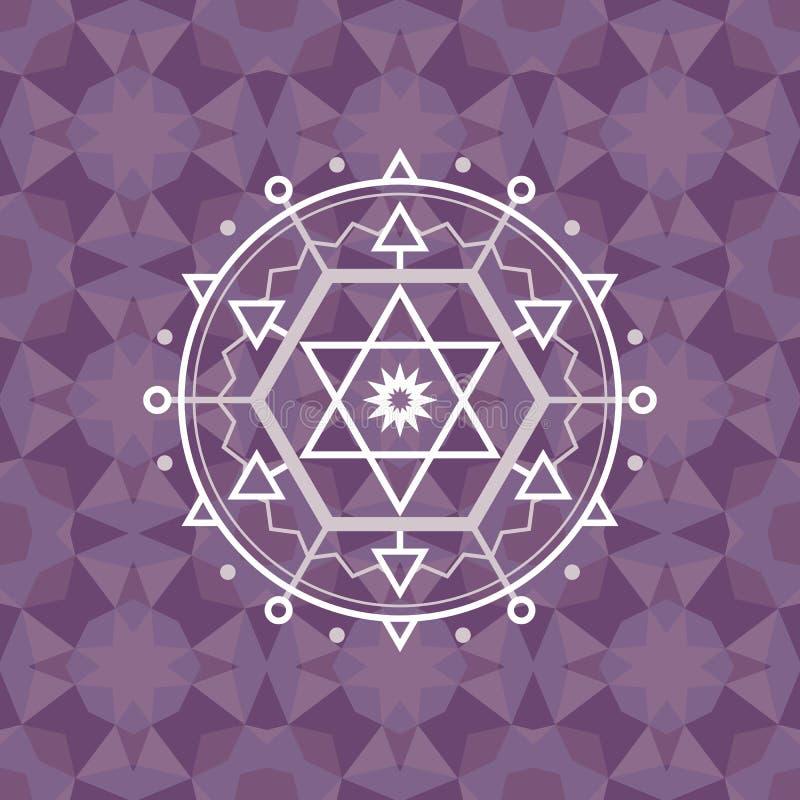 Священный знак геометрии на геометрической абстрактной предпосылке Абстрактная картина вектора иллюстрация штока