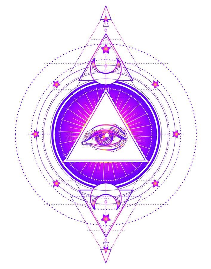 Священный символ геометрии при полностью видя глаз изолированный на белизне Мой иллюстрация штока