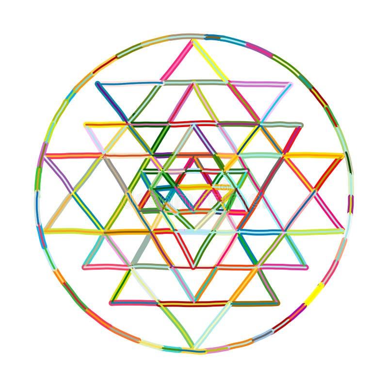 Священный символ Sri Yantra геометрии и алхимии Эскиз нарисованный рукой для вашего дизайна иллюстрация вектора