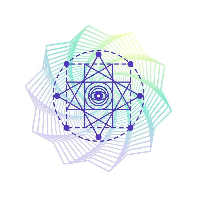 Священный символ алхимии геометрии, изолированный на белизне с формой градиента мандалы цветка бесплатная иллюстрация