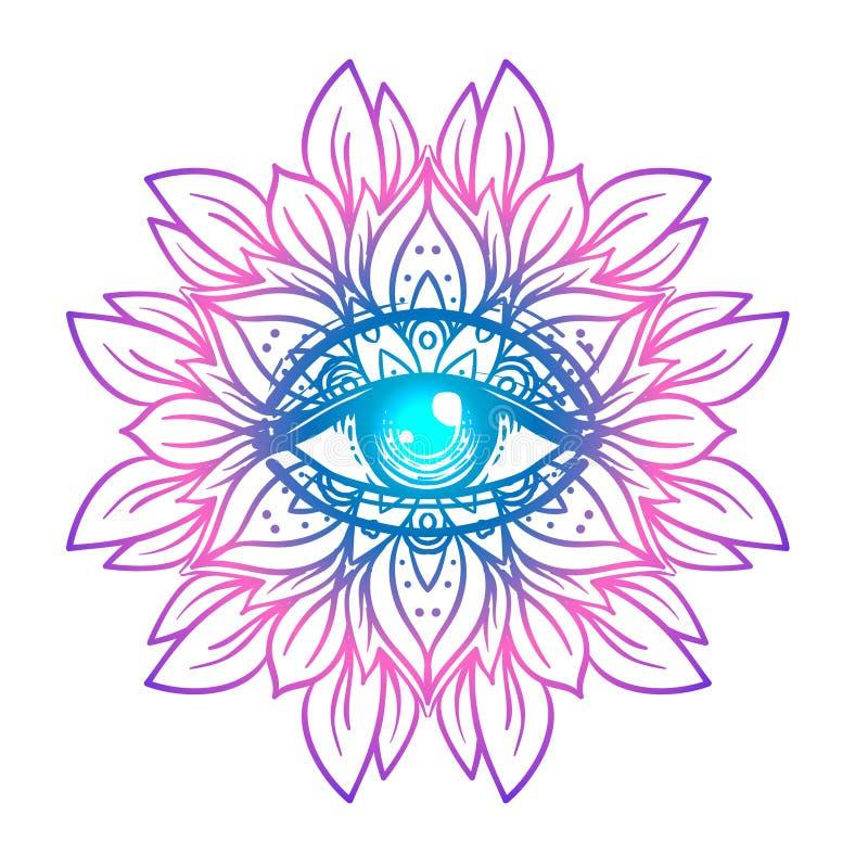 Священный символ геометрии с полностью видя глазом в кисловочных цветах Mysti иллюстрация штока