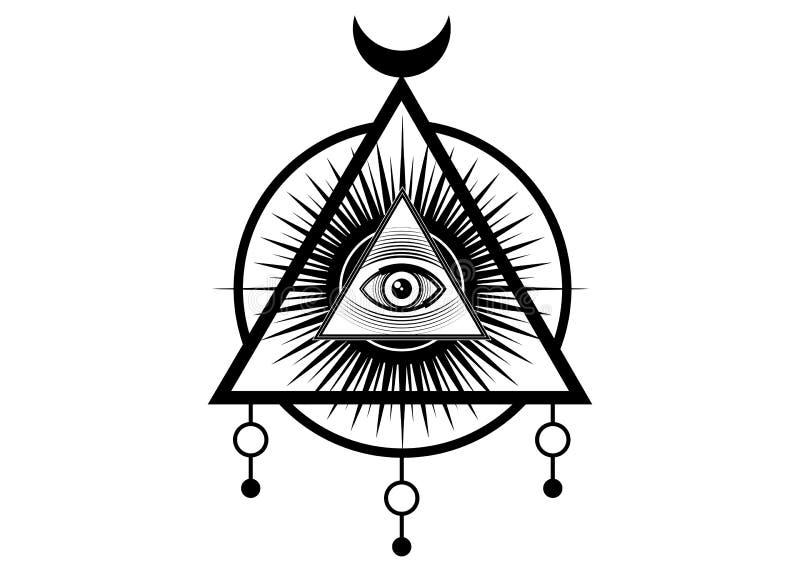 Священный Masonic символ Полностью видя глаз, третий глаз глаз Провиденс внутри пирамиды треугольника мир нового порядка иллюстрация вектора
