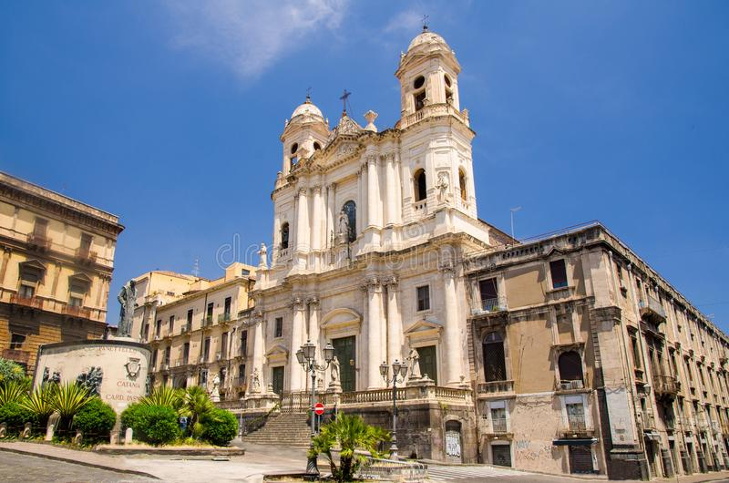 Св. Франциск Св. Франциск церков Assisi безукоризненной, Катании, Сицилии, Италии стоковое фото rf