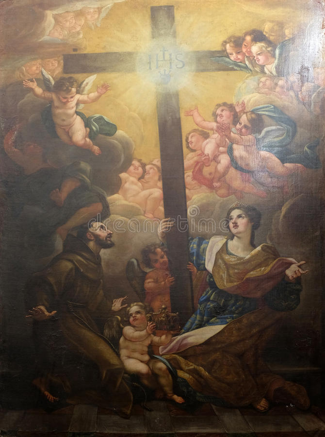 Св. Франциск Св. Франциск Assisi и St Хелен поклоняются истинный крест стоковое фото