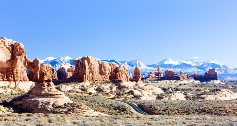 Сгабривает национальный парк с горами соли Ла, Юту, США стоковые изображения