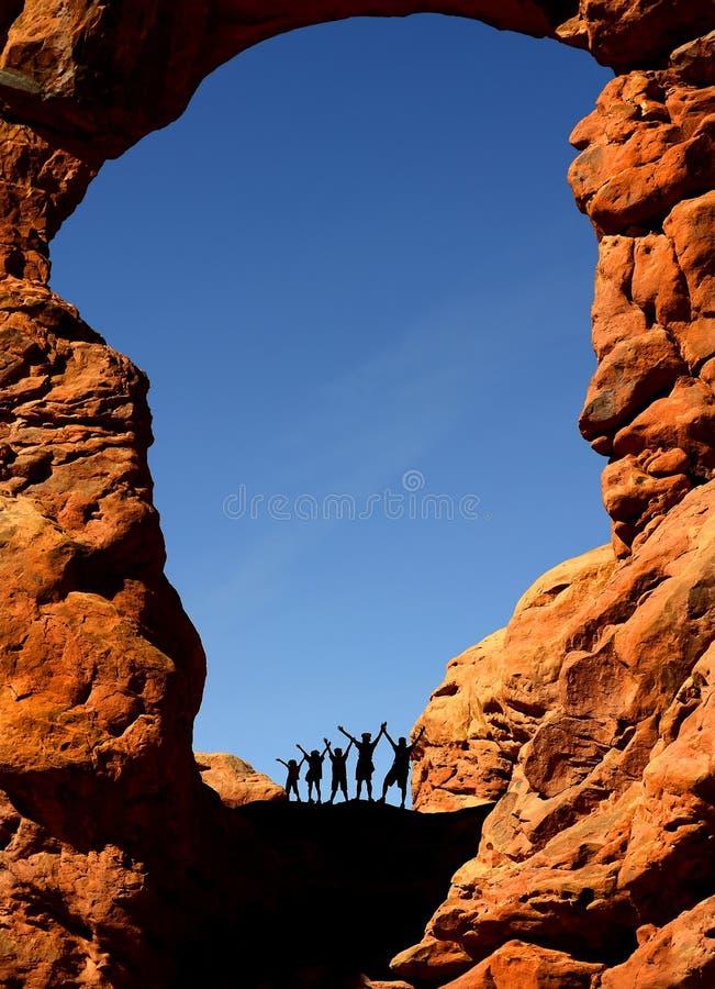 сгабривает семью hiking национальный парк стоковая фотография rf