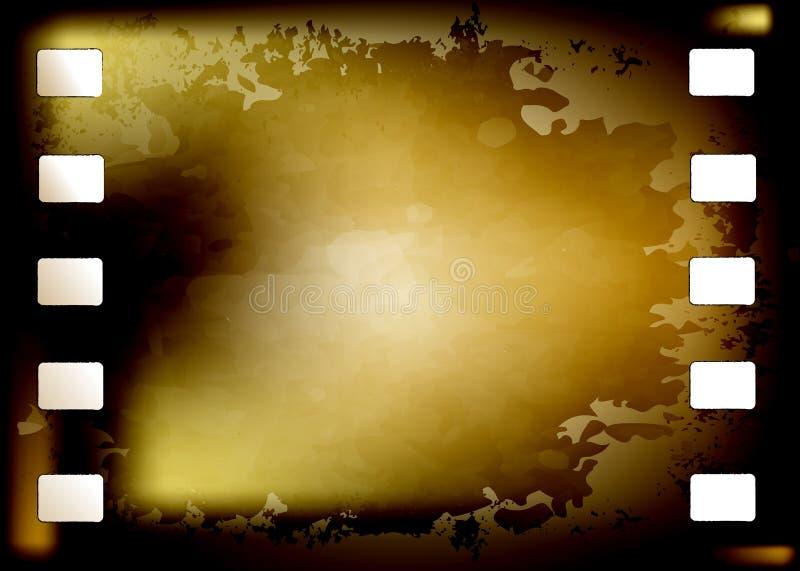 Сгорели рамка фотографического фильма Grunge, который Старый год сбора винограда 35 mm предпосылки фильма с космосом для текста f иллюстрация вектора