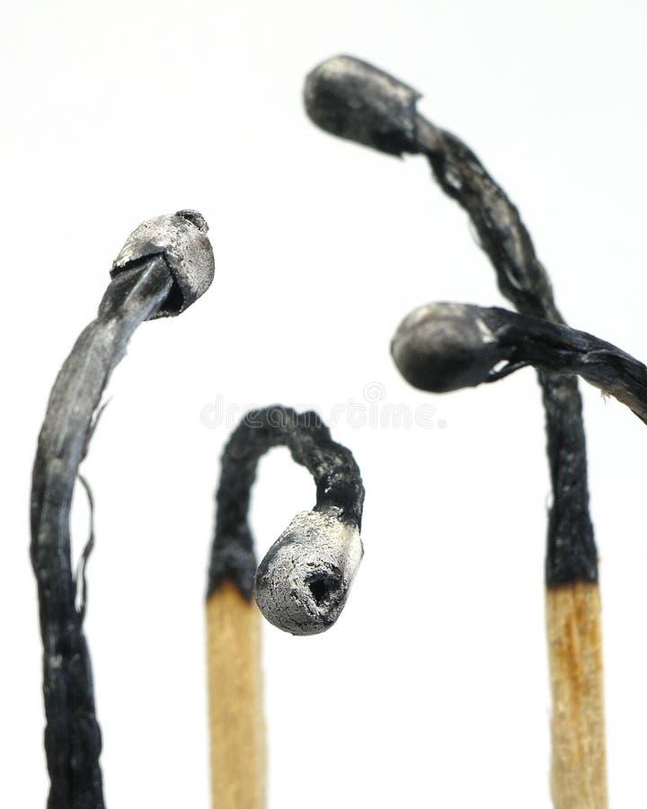сгорели ручки спички Стоковые Изображения