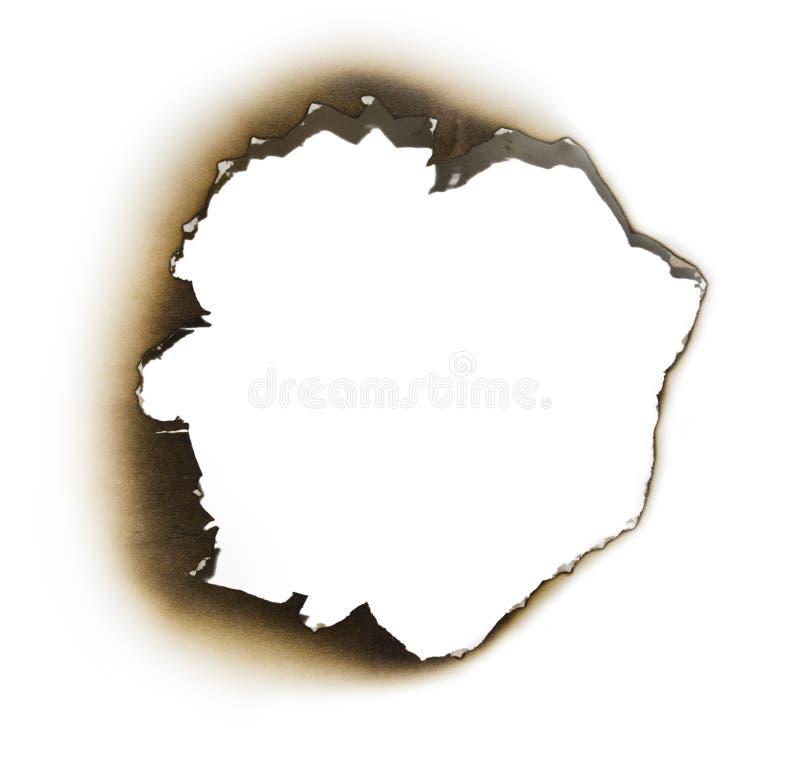 сгорели часть бумаги отверстия стоковая фотография rf