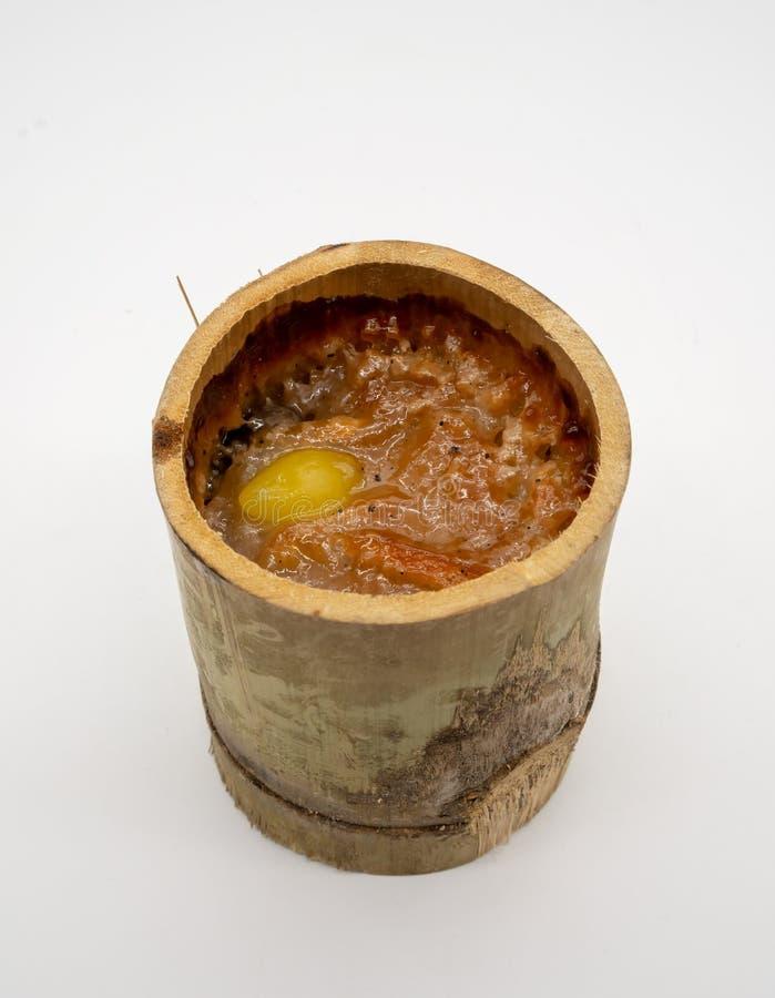 Сгорели Glutinous рис с сладостным молоком кокоса и испаренным гинкго стоковые изображения rf