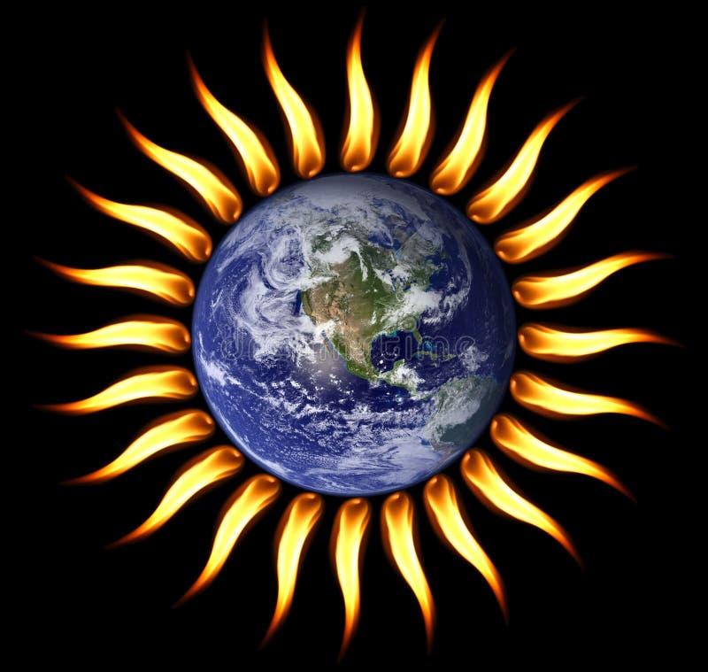 сгорите наш мир солнца планеты поворачивая стоковое фото rf