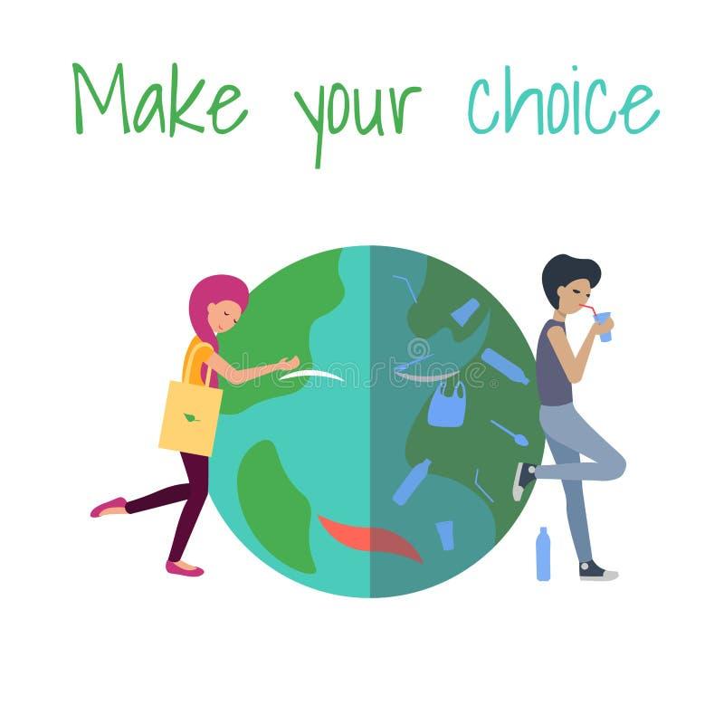 Сделайте ваш выбор девушка обнимая планету парень использует пластиковое иллюстрация штока
